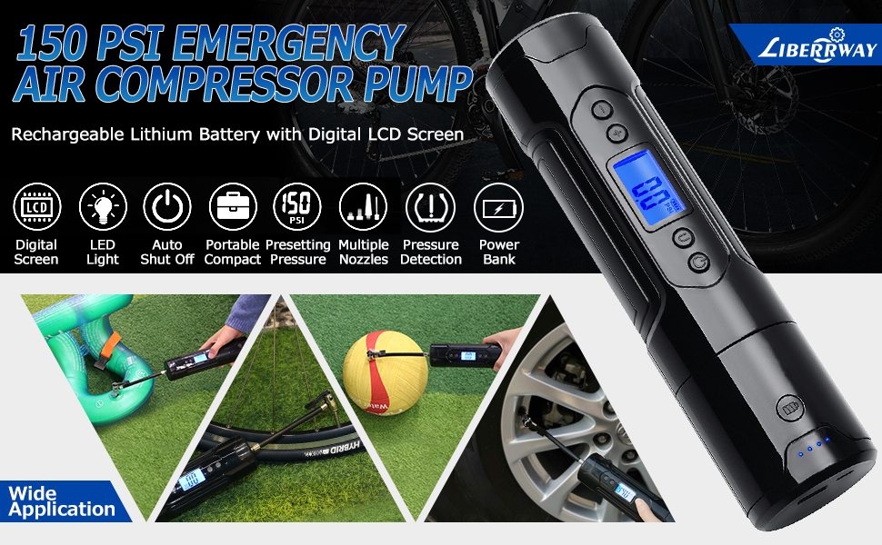 LIBERRWAY Air Compressor Pump Digital Tyre Inflator Pump Portable Cordless for Car Tyre Bicycles Tires Balls Swimming Rings Emergency