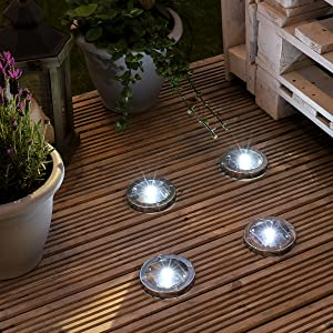 Solar decking lights pack of 4 stainless steel solar powered now we know how stressful fitting deck lights can be thats why our deck lights come with their very own fixing kit the best thing about these lights is aloadofball Image collections