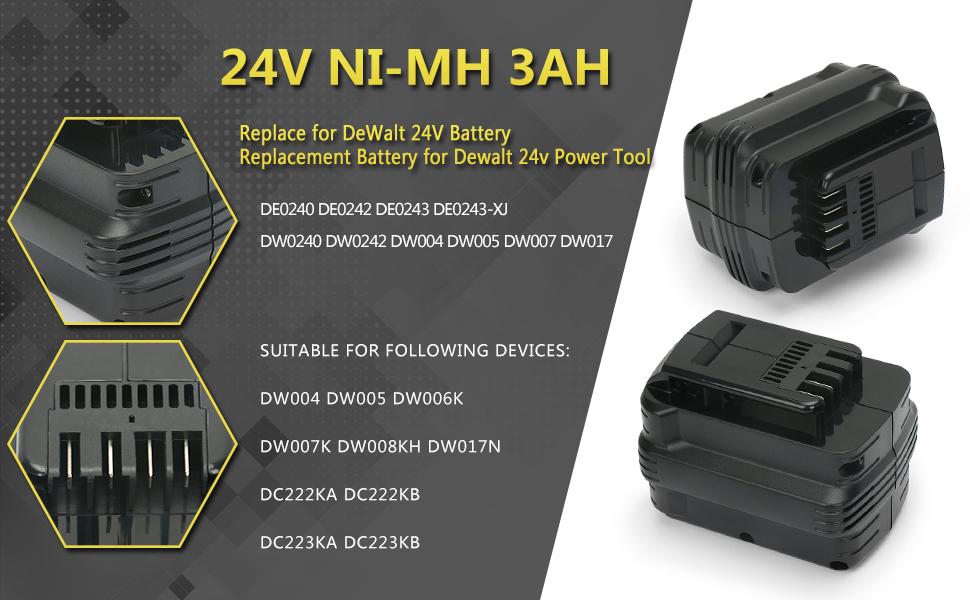 Batterie type DEWALT DE0243 3000mAh Ni-MH 24.0V