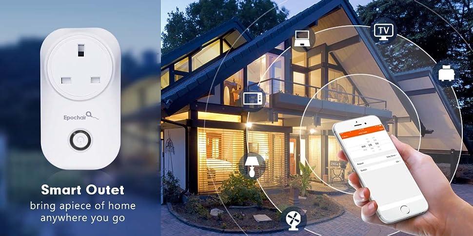 Smart Plug, EpochAir WiFi Timer Plug Socket Power Switch Outlet ...
