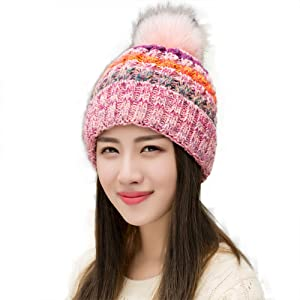 737cf605fb7 Ypser Women s Winter Slouchy Knitted Hat Cable Faux Fur Pom Beanie ...