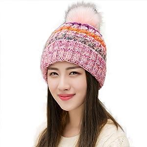 2f813f6cd Ypser Women Fleece Lined Beanie Scarf Mask Set Winter Knit Ear Flaps Hat  with Pompom