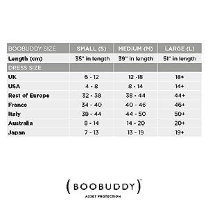booband, boobuddy, size chart, sizes