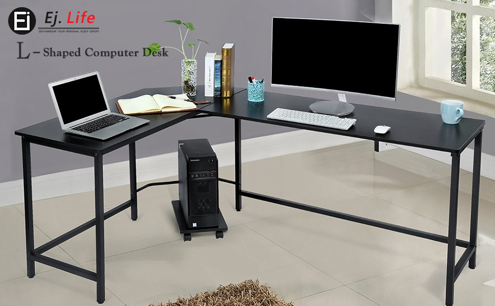 l shaped corner computer desk large pc gaming desk study table workstation for home office wood. Black Bedroom Furniture Sets. Home Design Ideas