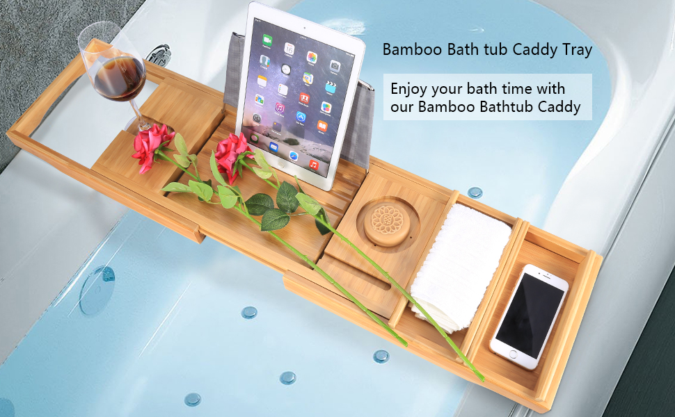 Bamboo Bath Tray Rack Bath Tub Caddy with Extending Side and Soap ...