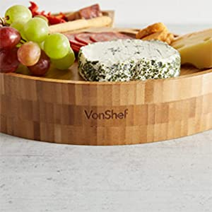 VonShef Round Bamboo Cheese Board with Knife Set