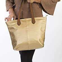 Tan Gold Leather Tote bag