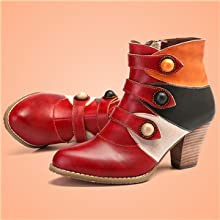 1f2a5f603b1 gracosy Womens Leather Ankle Boots Winter Low Block Heel Ankle ...