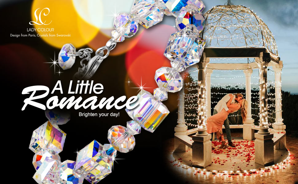 A Little Romance Women Link Bracelet Aurore Boreale Crystals from Swarovski 7''+2'' Extender Elegant Jewellery Box Every Special Moment