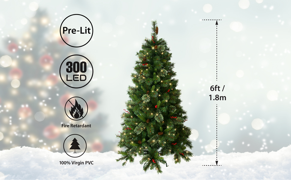 ANSIO Christmas Tree Pre Lit 6 Ft 300 LED Artificial Tree