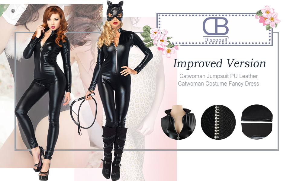 f5a5a4e8794 Discoball Catwoman Jumpsuit PU Leather Catwoman Costume Fancy Dress Catsuit  Hen Party Outfit Adult Cosplay Tight Bodysuit