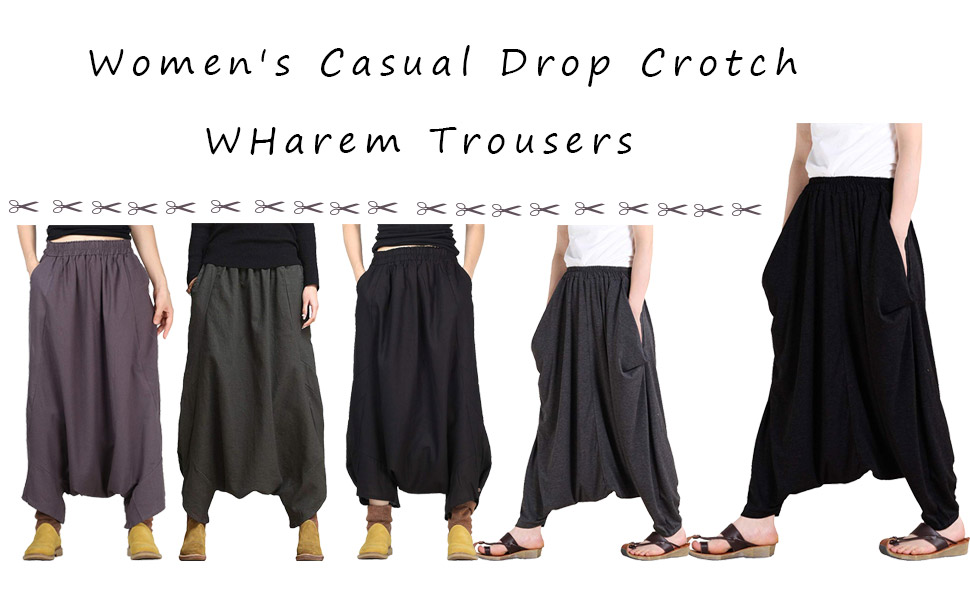 81c2949136cf2 For Style 1 harem pant is made of soft cotton. Style 2 is made of cotton  linen, which is a nature, elegant and comfortable fabric. WOMEN TROUSERS