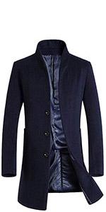 Vogstyle Men's Turn Down Collar Casual Woolen Coat Winter