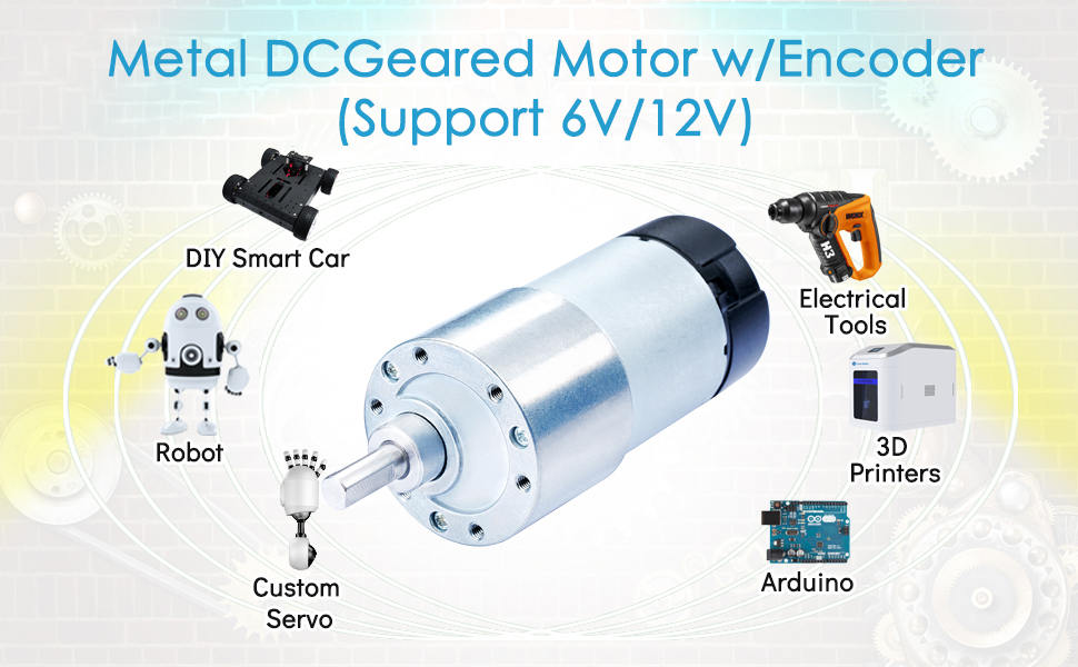 366rpm 183rpm 6V 13kg.cm,Metal DC Geared Motor w//Encoder,30:1 6.8kg.cm // 12V