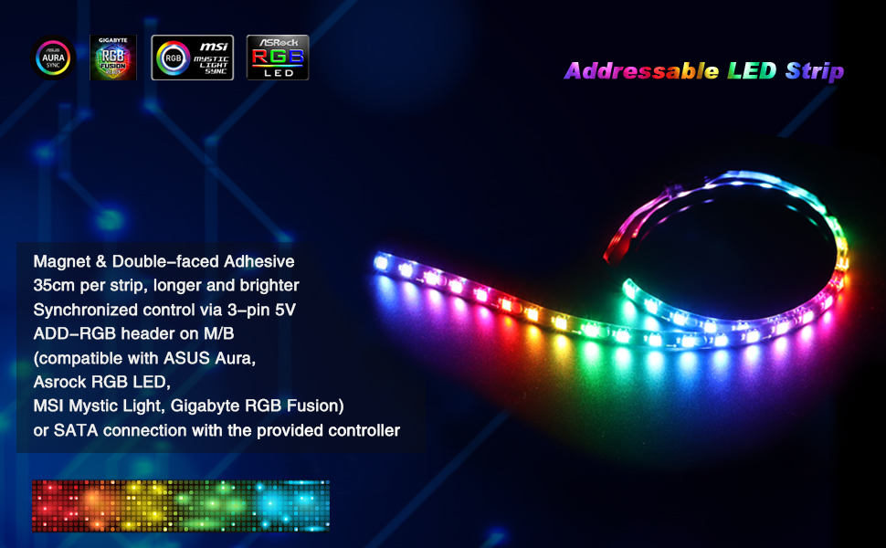RGB Led Strip, Speclux PC Light Strip with Magnet & Double-Faced Adhesive,  35cm, 5V 3pin ADD RGB, Compatiable with Asus Aura, Asrock RGB Led, Gigabyte