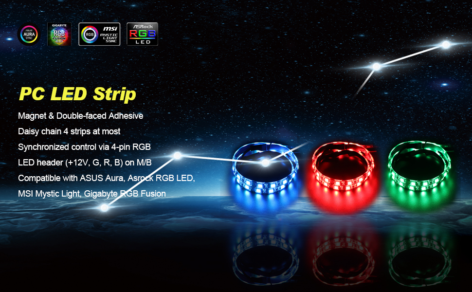 RGB LED Light Strip - Speclux Led Strip for Modding PC Case, Motherboard  Control, 12V 4pin RGB, Compatiable with Asus Aura, Asrock RGB Led, Gigabyte