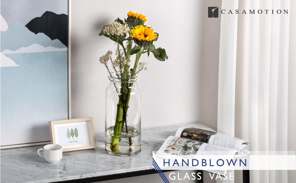 Casamotion Vases Hand Blown Art Glass Vase Centerpiece Vases For