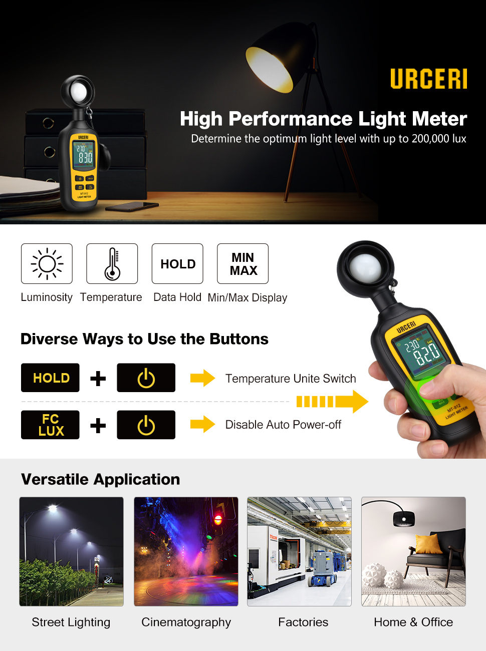 URCERI Handheld Digital Light Meter Ambient Temperature Measurer with Range  up to 200,000 Lux with 4 Digit Color LCD Screen