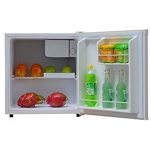 tabletop mini fridge ice box cooler chiller drinks cold storage compact sleek minimalistic