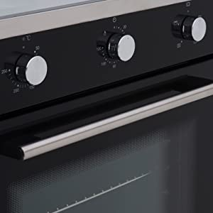 60cm 600mm black single electric true fan oven A rated energy multi function dial control removable