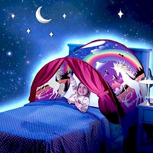 hot sale online 75c3e d1629 elebaby® Girls Unicorn Dream Bed Tent Children Play Tent Folding Pop up  Tents Indoor Princess Castle Playhouse Kids Birthday Gift