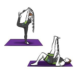 Estiramiento, flexibilidad, correa de yoga, cinturón de yoga.