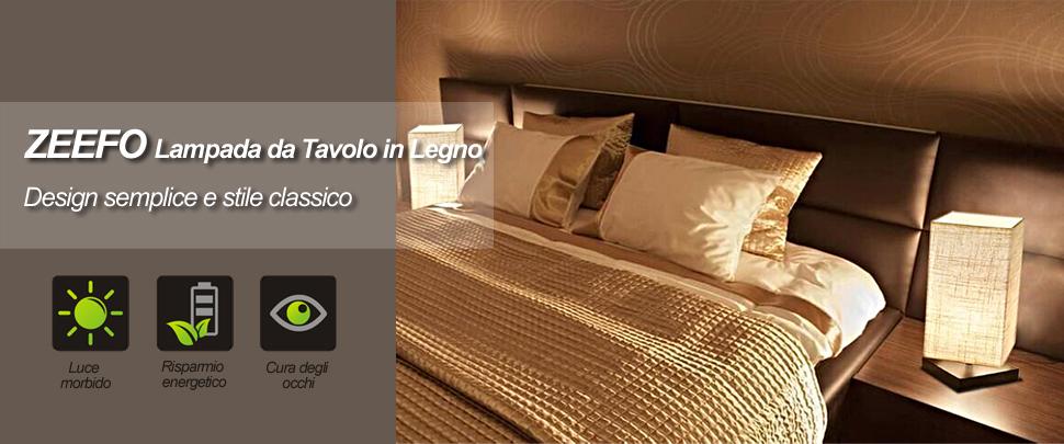 ZEEFO Lampada da Tavolo, Lampada da Comodino, Luce in Legno Solido e  Paralume in Tessuto per Camera, Soggiorno, Caffetteria, Ufficio, Stanza dei  ...