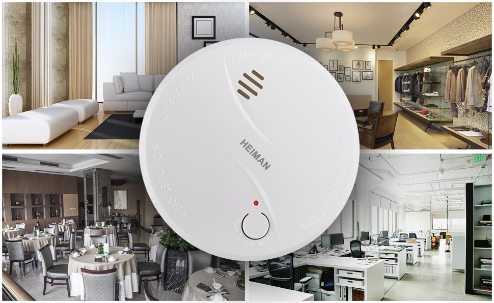 Smoke Alarm Qoosea Wireless Smoke Detector Fire Alarm 10-Year Battery-Operated Photoelectric Sensor Smoke Alarm EN14604 CE Certified Fire Detector