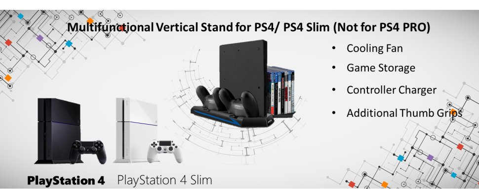 [Newest Version] Keten Vertical Stand for PS4 Slim / PS4