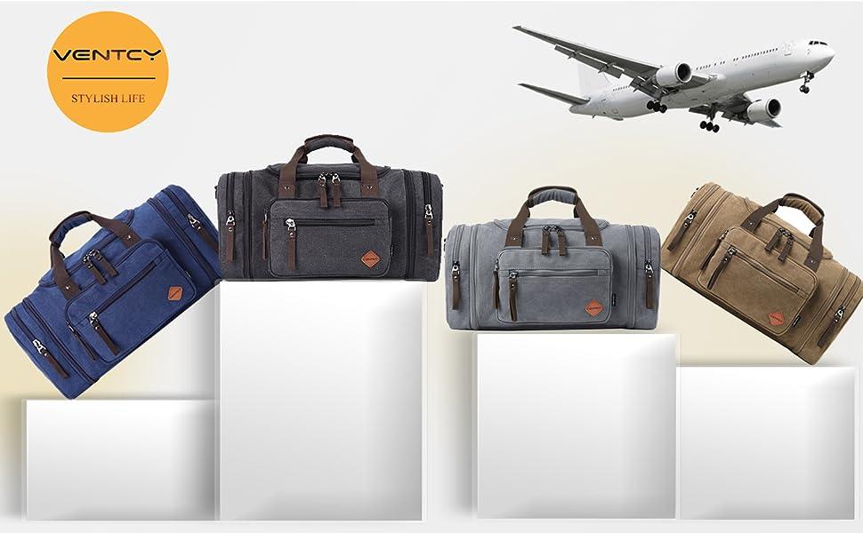 VENTCY Canvas Travel Duffle Bag Womens Mens 40L Weeknd Bag Vintage ... 32c1c88d6a
