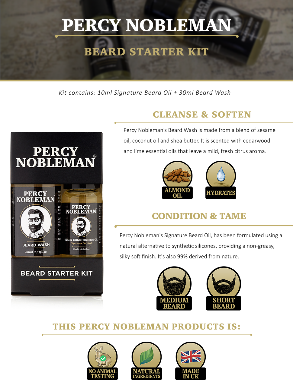 beard grooming kit beard oil beard wash shampoo percy nobleman natural mens gift gifts set men's
