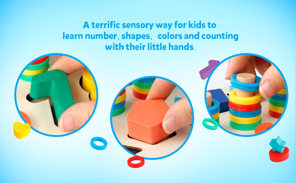 Wooden Math Blocks Sorting Puzzle Board Kids Early Education Shape Sorter