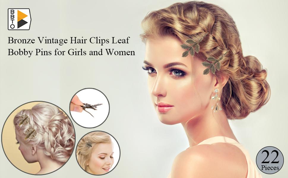 22 Pieces Vintage Hair Clips Barrettes Bronze Leaf Bobby