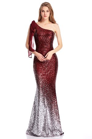 The shoulder part is the self-tie chiffon strap,elegant but sexy.From the shoulder to bottom,it is covered with the glitter in different color gradient to ...
