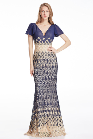 This maxi dress features deep cap sleeve design in v neck style.It is a formal and classic evening dress that made of hight quality embroidery lace .