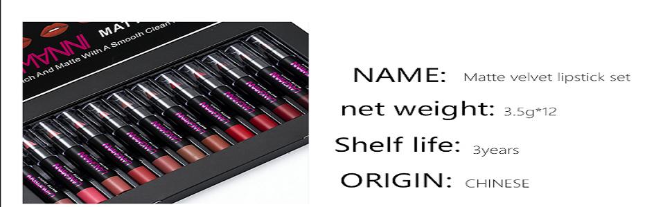 12color matte lipstick Waterproof Nude Velvet lipstick sexy Beauty Long-lasting batom Cosmetic