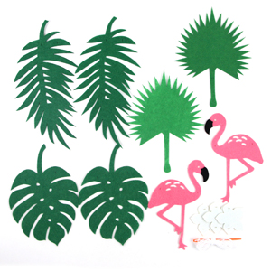 SUNBEAUTY Summer Party Decorations Kit Yellow Balloons Tropical Leaf Flamingos Pineapples Banners Parrot Honeycomb for Luau Hawaiian Beach Hanging Decoration KT-1