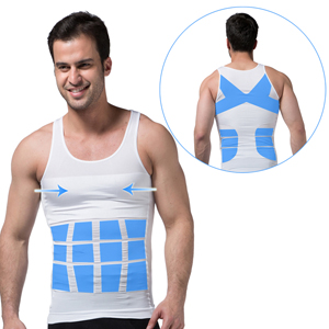 86f691e74d6fe This is a perfectly fitted soft mens slimming compression undershirt that  stretches and recoils as your body moves. Providing back support to promote  better ...