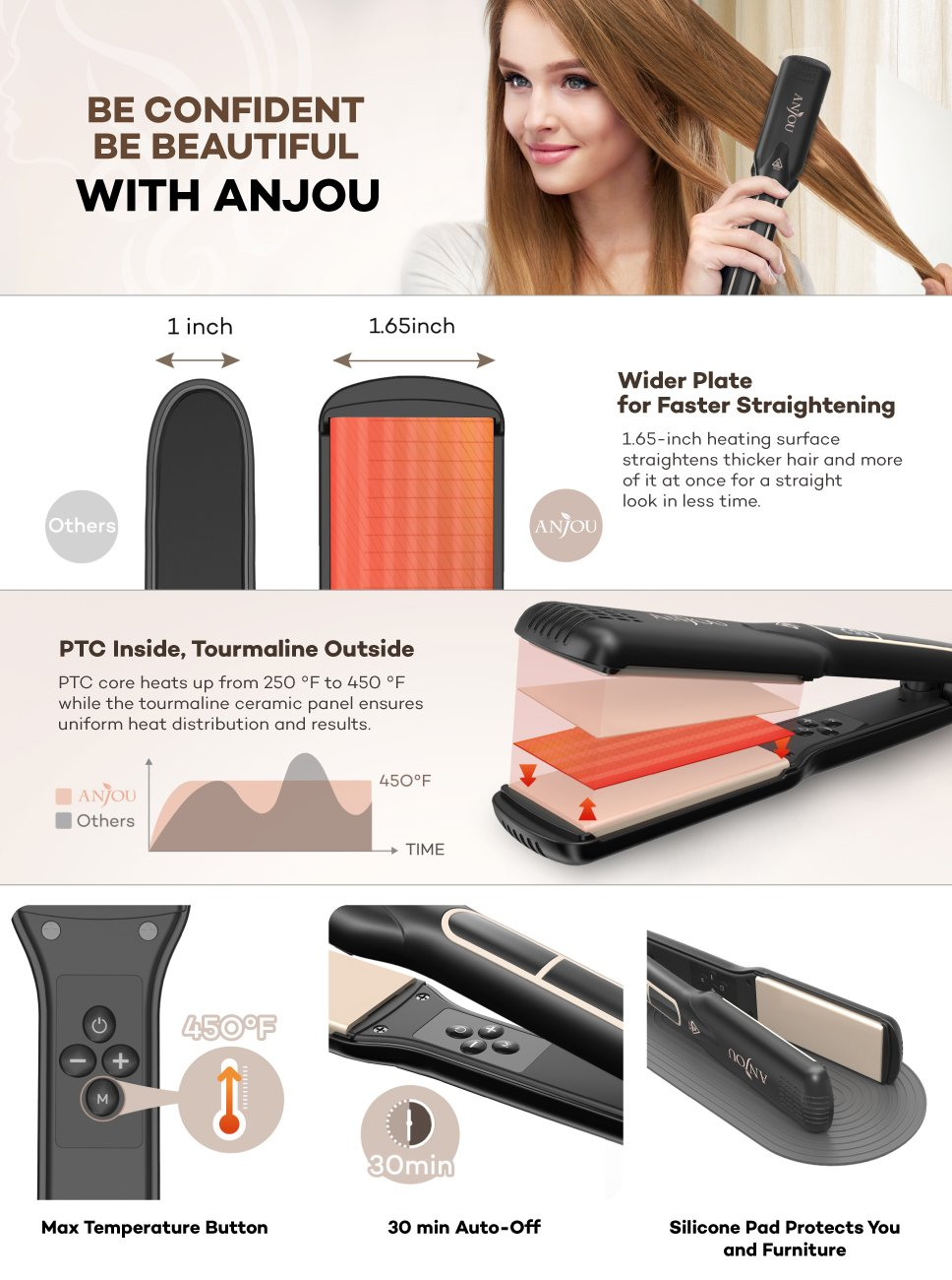 Hair Straightener with 4.2cm Wide Plate, Anjou Professional Flat Iron with PTC Core and Tourmaline Ceramic, 30 Minutes Shut Off, Heat Resistant