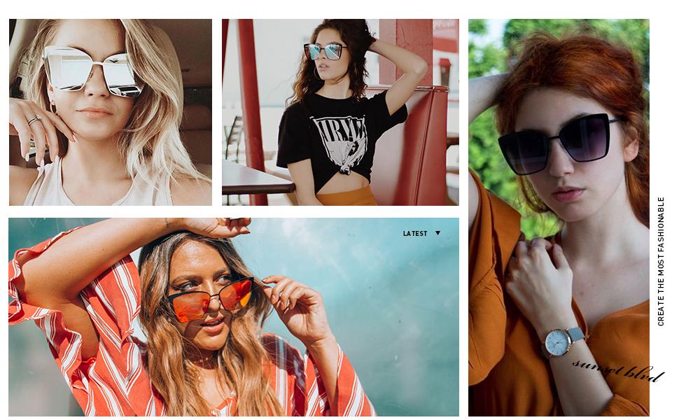 Thenxin Sunglasses for Women Cat Eye Mirrored Flat Lenses Metal Frame Designer Sunglasses Holiday