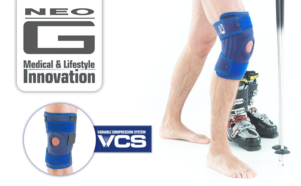 2164ace415 The Neo G Stabilized Open Knee Support utilises metal spiral stays to help  support the knee complex whilst still allowing controlled and flexible  movement.