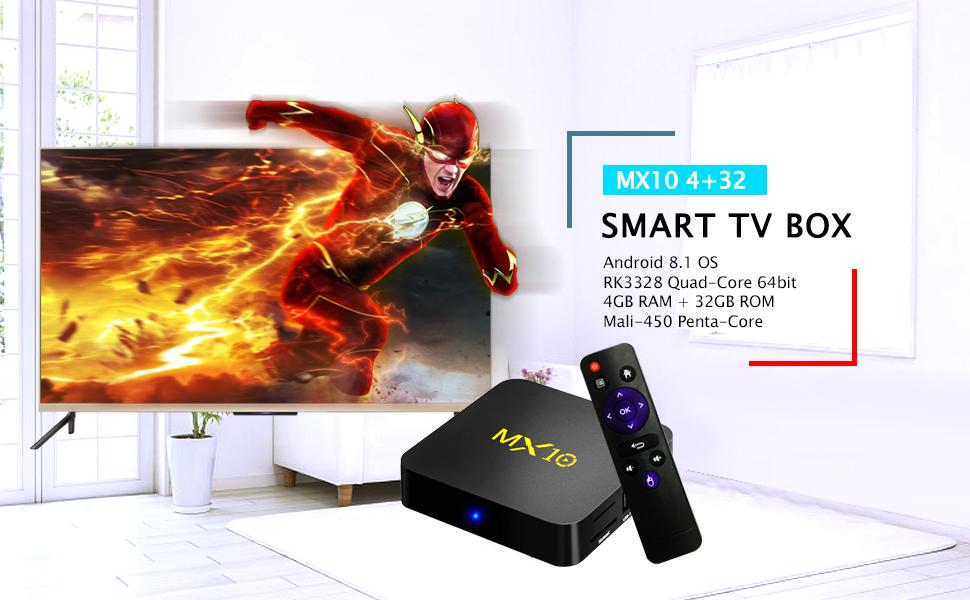 Android TV Box, 2018 4GB+32GB LinStar MX10 Smart 4K TV