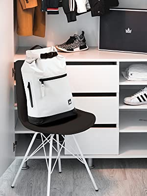 stylish backpack standing in a closet with street smart sportswear