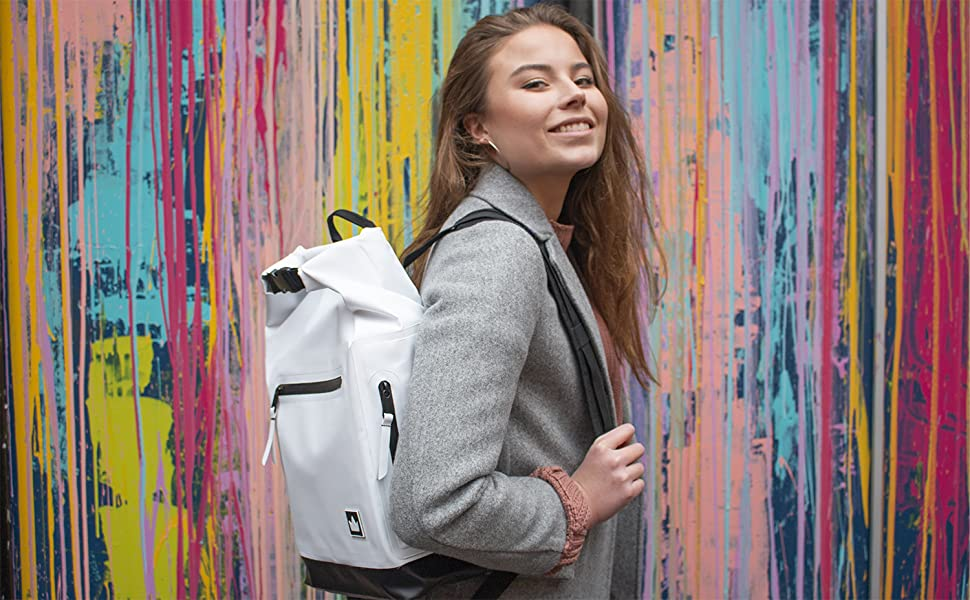 Girl carrying backpack