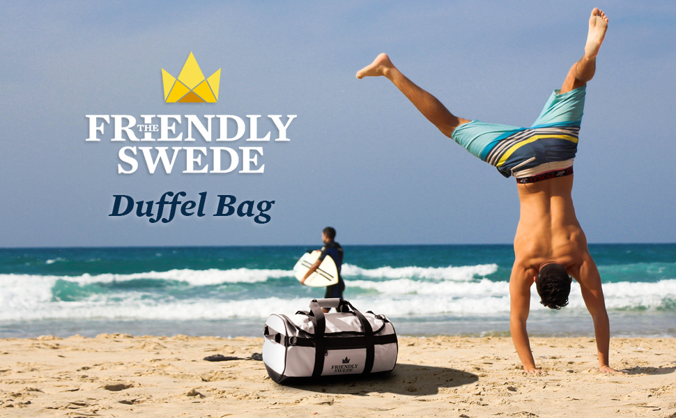 Man cartwheeling on beach with Sports Duffel bag in white in the sand