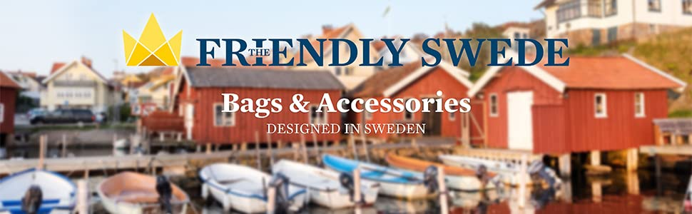 The Friendly Swede brand banner: Bags & Accessories - Designed in Sweden