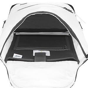 "Inside main compartment, 13"" laptop pocket"