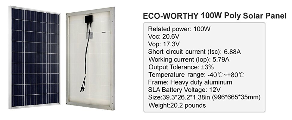 Eco Worthy 100w 12 Volt Solar Panel Polycrystalline 100