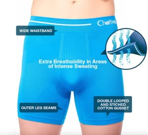 Seamless Anti Bacterial Breathable Moisture Wicking Sweat Control 2XL; Leg-Long, Blue Quick Dry Sports Exercise Underwear Briefs Chaffree Mens Coolmax Anti Chafing Long Leg Boxer Shorts 5 Pack 44-48