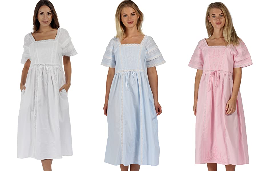 7c0cc92720 The 1 for U 100% Cotton Nightgown Long Sleeve Victorian Nightie ...